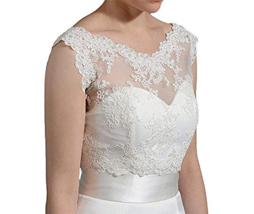 Damen Weiß Elegant Ärmellos Bolero Spitze Bolero Jacke Hochzeit Festlich (Weiß, 32-38)