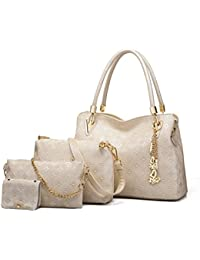 4pcs Women's Leather Handbags Top Handle Shoulder Bag + Tote Bag + Crossbody Bag + Wallet (White)