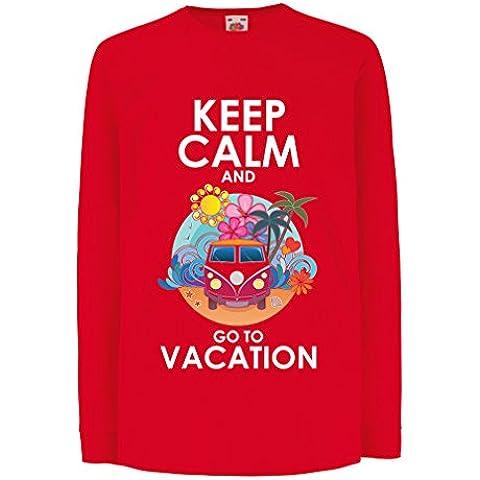 N4442D La camiseta de los niños con mangas largas Keep Calm and Go to Vacation