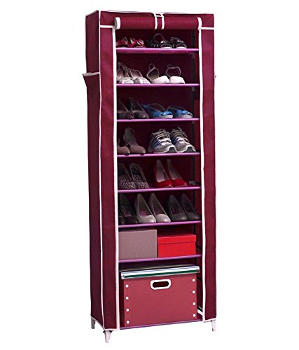 Inditradition 10 Layer Collapsible Shoe Rack with Cover, Multipurpose Storage Rack | Wine Maroon Color, 60x30x160 cm