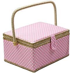 Caja de costura con accesorios para kit de costura, organizador de cesta de costura de madera D&D con accesorios para el hogar, viajes, lunares azules, grande Large L - PINK