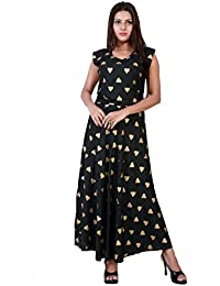 fabcolors Women s Party Wear Rayon Gold Heart Print Long One Piece Dress  (Black 28f349c62