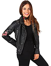 KRISP® Damen Biker Jacke mit Nieten und Aufnähern