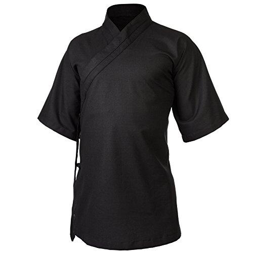 wu designs Leinen (Mittel) Kung Fu & Tai Chi Shirt Diagonaler Kragen Kurzarm - Taiji Anzug Schwarz 170