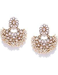Zaveri Pearls Gold Tone Traditional Pearls Beaded Dangle Earring For Women-ZPFK7301