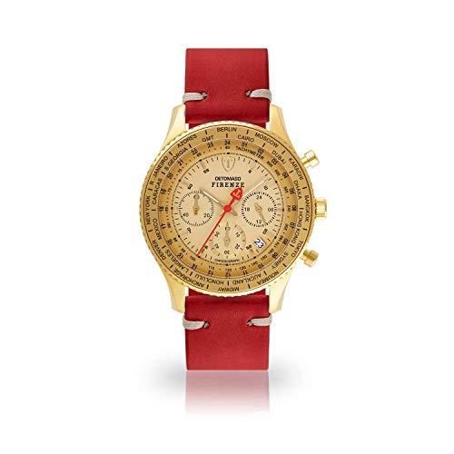 DETOMASO Firenze Herren-Armbanduhr Chronograph Analog Quarz goldenes Edelstahlgehäuse goldenes Zifferblatt (Leder - Rot (Vintage Style))