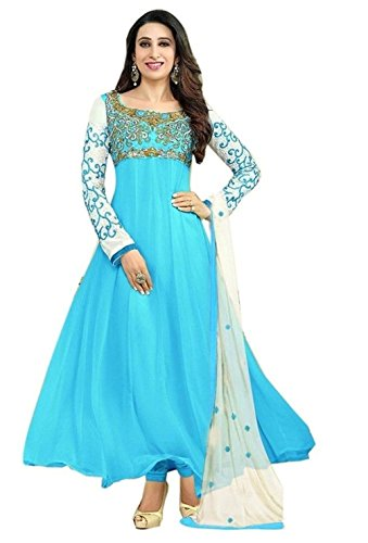 Womens\'s And Girl\'s New Georgette Fabric Anarkali Dress Material(se2 5007 Sky_Free Size)