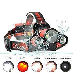 BORUIT B22 5000 Lumen Wasserdichte Zoomable Led Stirnlampe Kopflampe mit Rotem Licht,XML-L2 + 2XPE 4 Modi USB Head Torch für Laufen, Höhlenforschung, Joggen, Camping, Wandern