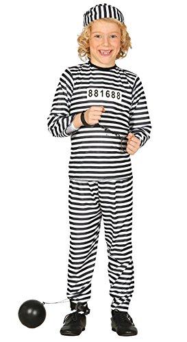Häftling mit Anzug und Mütze, für Kinder von 7–9Jahren, Schwarz (78402) (Kind Gefangener Kostüm)