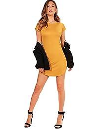 YourPrimeOutlet Senf Damen Taylor T-Shirt-Kleid mit abgerundetem Saum und  hochgerollten Ärmeln 13c2ebcbd8