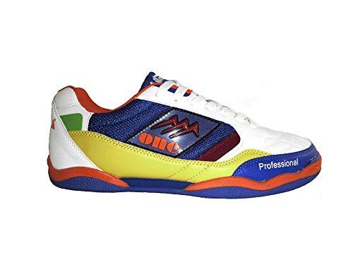 AGLA , Chaussures pour homme spécial foot en salle noir noir EUR 41.5 White/Blue/Yellow