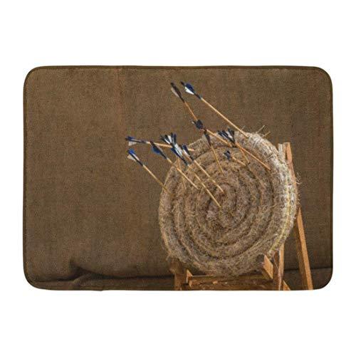 Badematte Traditionelle gefiederte Pfeile in Alten mittelalterlichen Stroh Praxis Bogenschießen Ziele Mdina Malta April Badezimmer Dekor Teppich -