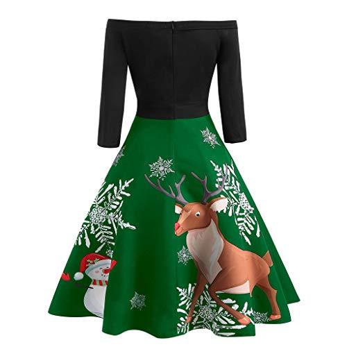 Auiyut Frauen Partykleid Knielang Schlingenkleid Party Kostüm Off Shoulder Weihnachten Kleid Schulterfreies Abendkleid Snowflake Drucken Weihnachts Kleidung Lang Ärmel Elegant Swing Kleider
