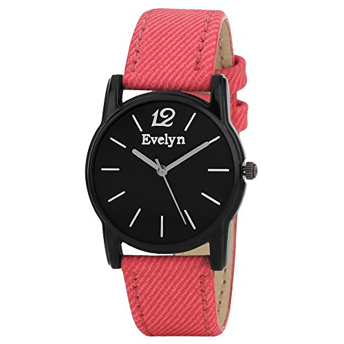 Evelyn Danim Black Dial Red strap Stylish Analogue Watch For Girls- Eve-553
