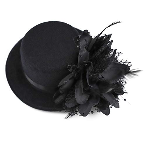 BAOBAO Damen Mini-Hut Fascinator Hochzeit Party Brautschmuck Haarspange Haarspange - Schwarz - Einheitsgröße (Mini-hüte Für Frauen)