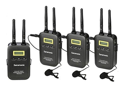 Saramonic vmiclink5de 5,8GHz inalámbrico Lavalier Sistema de micrófono de solapa portátil con 3transmisor, 1receptor para Canon EOS Nikon D3300(D3400Panasonic DSLR SLR Cámara de vídeo videocámara