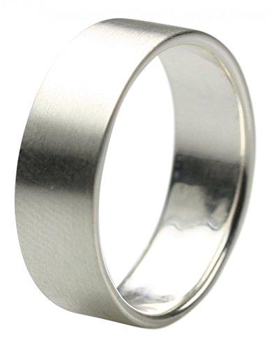 Mattierter Bandring aus 925er Silber 7 mm edel und schlicht, Größe:Größe 60 (19 mm)