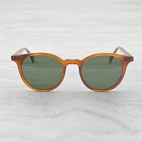 LKVNHP Hochwertige Vintage Runde Sonnenbrille Delray Polarisierte Sonnenbrille Herren & Damen Oculos Feminino Sonnenbrille MarkendesignerBernstein Vs Grün