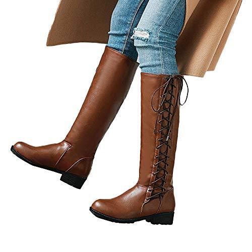 Geili Langschaft Stiefel Damen Modische Lederstiefel Schnürstiefel mit Keilabsatz Frauen Übergrößen Lange Boots Outdoor Wasserdicht Schneestiefel Reiterstiefel Cowboystiefel 36-41