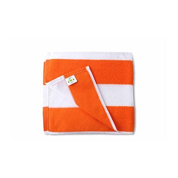 Bathe & Soak Microfiber Bath Towel Cabana, 70x140 cms, Large, 250 GSM (White & Orange)
