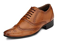 Mactree Mens Tan Artificial Leather Lace-Up Brogue Shoes 8912-8