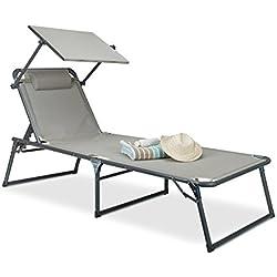 Relaxdays Chaise Longue avec Pare-Soleil:37x 70x 200cm, Chaise de Jardin avec Pare-Soleil, en Aluminium et Polyester, Chaise Pliante, Beige