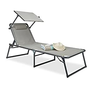 relaxdays gartenliege klappbar sonnenliege dach deckchair sonnenschutz verstellbar hbt 37. Black Bedroom Furniture Sets. Home Design Ideas