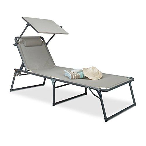 Relaxdays sedia a sdraio con parasole: 37x 70x 200cm, sedia da giardino con scudo, alluminio e poliestere, pieghevole, sedia a sdraio, beige