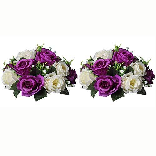 Nuptio 2 Stück Künstliche Blumenstrauß, 15 Köpfe Kunststoff Rosen mit Sockel, Geeignet für Unser Geschäft Hochzeit Herzstück Blumenregal für Parteien Valentinstag Dekoration(Lila & Weiß)