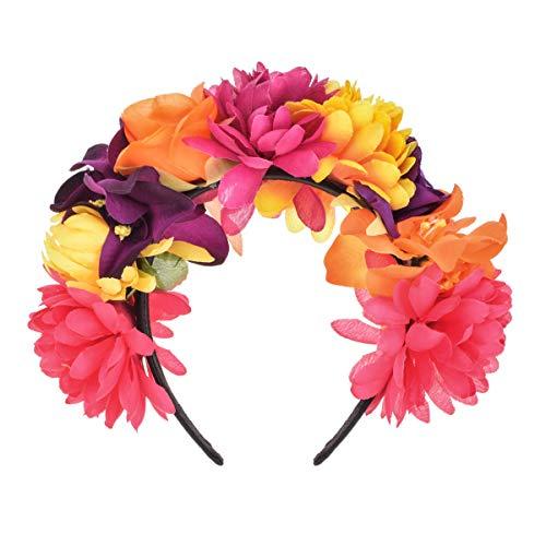 DreamLily Frida Kahlo mexikanische Blumenkrone Stirnband Halloween Party Kostüm Dia de Los Muertos Kopfbedeckung NC25 - - Medium (Tag Der Toten Kostüm Haar)