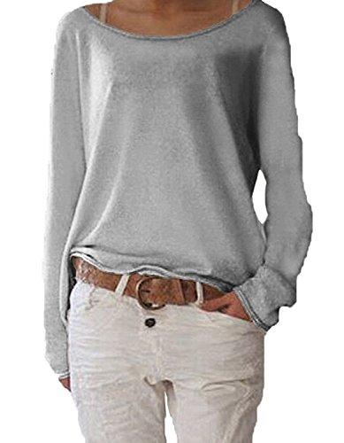 Jevvia Damen Langarm T-shirt Rundhals Ausschnitt Lose Bluse Hemd Pullover Oversize Sweatshirt Oberteil Tops ,Farbe Grau , Gr. Medium / EU 40-42