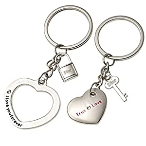 TOOGOO(R) Silvery Lovers Metal Key Chains Couple Keychain Rings
