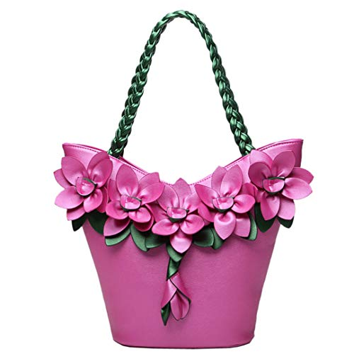 Rose Western Shirt (Blume Tasche Spleißen Hit Farbe Fluoreszierende Mode Blumen Gewebt Große Kapazität Umhängetasche Mode Tote Rose 25x13x35CM)