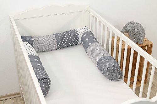 ULLENBOOM ® Bettschlange, Nestchenschlange Graue Sterne (Baby Bettrolle 200x13 cm, ideal als Babybett Kantenschutz, Lagerungskissen, Motiv: Sterne)