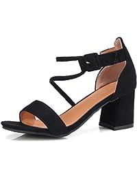Sandalias de Vestir de Mujer de Imitación de Gamuza Verano Punta Abierta de Tacón Medio Zapatos de Tacón Más Tamaño
