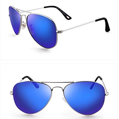 Wangwen Herrenmode UV400-Schutz Grau-Gun Metallrahmen Beschichtung Silberfilme Flash Mirror Lens Polarized Aviator Sonnenbrille (Color : Silver Frame Blue)