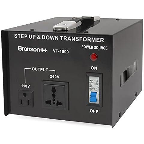 Bronson++ VT 1500 - Transformador Elevador / Reductor de Voltaje de 1500 Vatios EE.UU. - Convertidor de Energía de 110 Voltios - 110V 1500W
