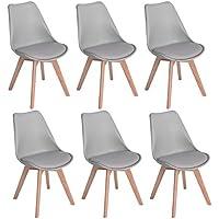 H.J WeDoo Lot de 6 chaises de Salle à Manger scandinaves, Chaises Rétro Tulip Bois de hêtre Massif- Gris