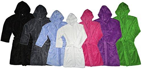Kinder Bademantel Kuschel Soft Fleece Microfaser mit Kaputze & Taschen - 2