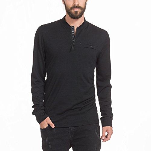 Zugspitze Herren Langarmshirt Schwarz aus Merinowolle - TRISANO - Longsleeve Shirt mit kleiner Brusttasche & Reißverschluss im Kragen, Funktionsshirt - Größe L- Nur erhältlich auf Amazon.de