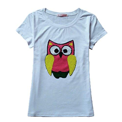 WanYang Damen Eule Pailletten Drucken T-Shirt mit Kurzarm Basic Top Weiß