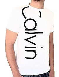 CALVIN KLEIN JEANS - T-shirt homme manches courtes - trois logos - BLANC ET NOIR - SLIM FIT