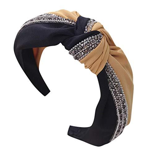 LILIHOT Haarband Damen Mädchen Set Stirnbänder Kariertes Vintage Haar Kopfband Frauen Kristall Stirnband Stoff Haarband Kopf wickeln Haarband Zubehör (Wickeln Für Zöpfe Haare)