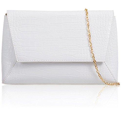 xardi London Medium Vintage Faux pelle di coccodrillo Donna geometrica frizione Prom Sera Borse White