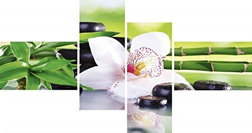 Artland Mehrteiliges Leinwand-Bild fertig aufgespannt auf Holzfaserplatte Africa Studio Spa Steine, Bambus Zweige und weiße Orchidee auf dem Tisch auf natürlichem Hintergrund Wellness Foto Grün C0ZE