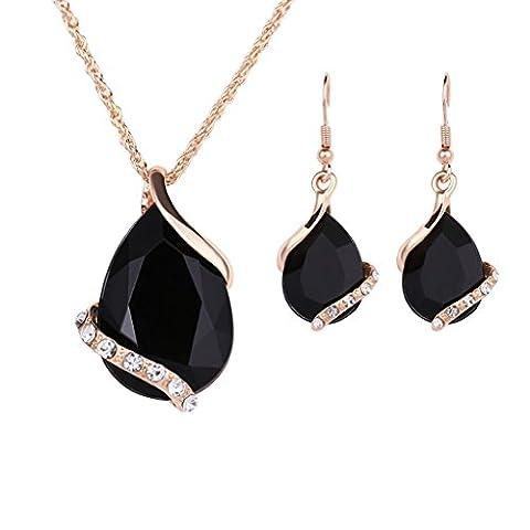 Fashion Women Wedding Teardrop Rhinestone Crystal Necklace Earrings Jewelry Set - Black