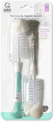 Geo Bottle & Nipple Brush with Sponge Tip & Suction Base, Grey &am