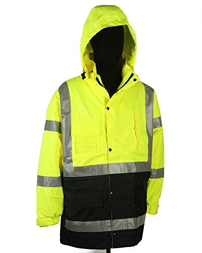 c6280e37d37d Safety Depot Two Tone Lime Yellow Black Reflective Class 3 Safety Parka  Jacket With Zipper and