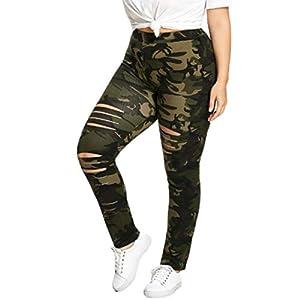Luckycat Damen Übergröße Lang Sport Yoga mit Löchern Leggings Hosen Camouflage Printed Enge Leggings Mode 2018