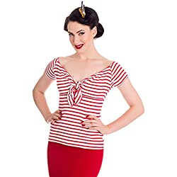 "Top Marinero a rayas Bardot de estilo Rockabilly de los 50's ""Hell Bunny Dolly"" - Rojo"